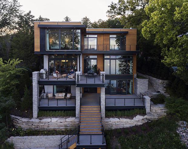Modern style lake house in Lake Geneva, Wis.