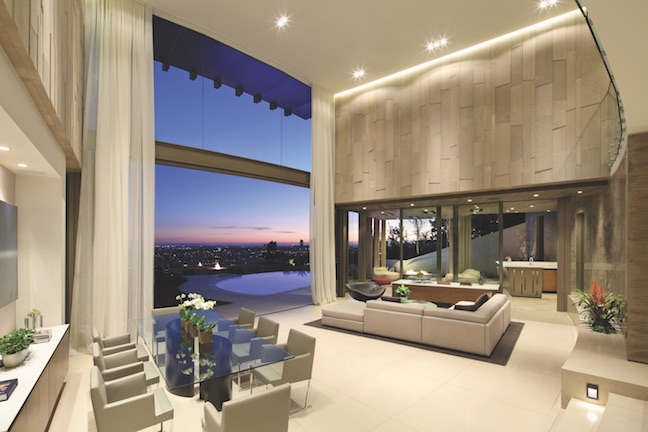 Main living area of Collingwood, hillside residence in Los Angeles
