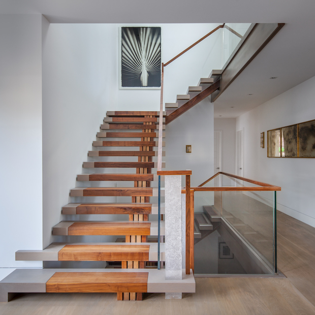 Custom black walnut and white oak stairway