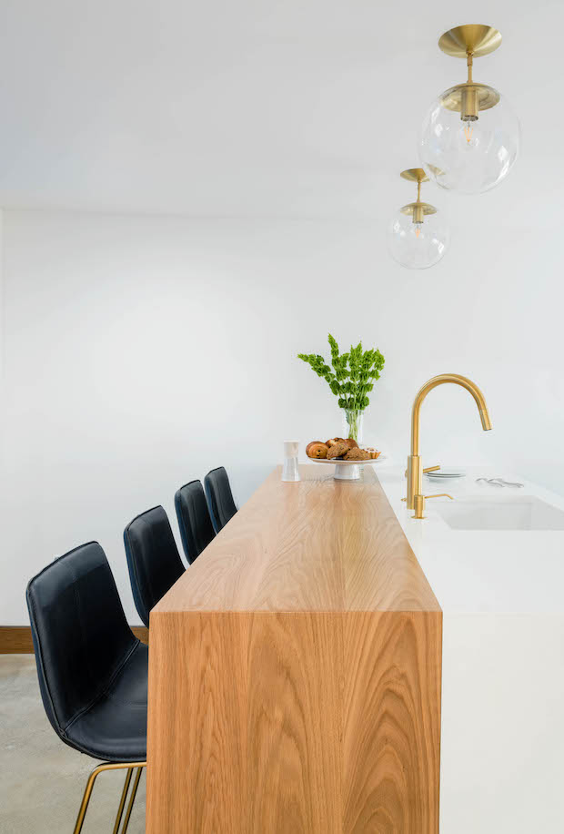 Wood and white kitchen island