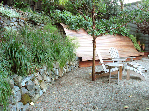 South_view_of_bench_and_retaining_wall