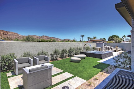Outdoor living area by Cullum Homes, Scottsdale, Ariz.