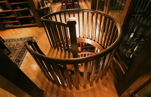 Winding wood staircase by B. David Levine