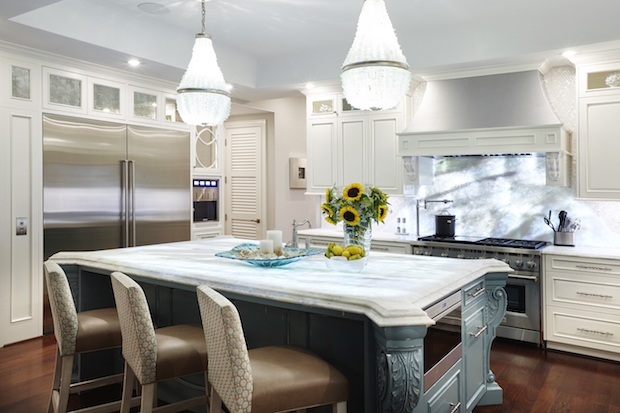Kitchen island with calcite countertop